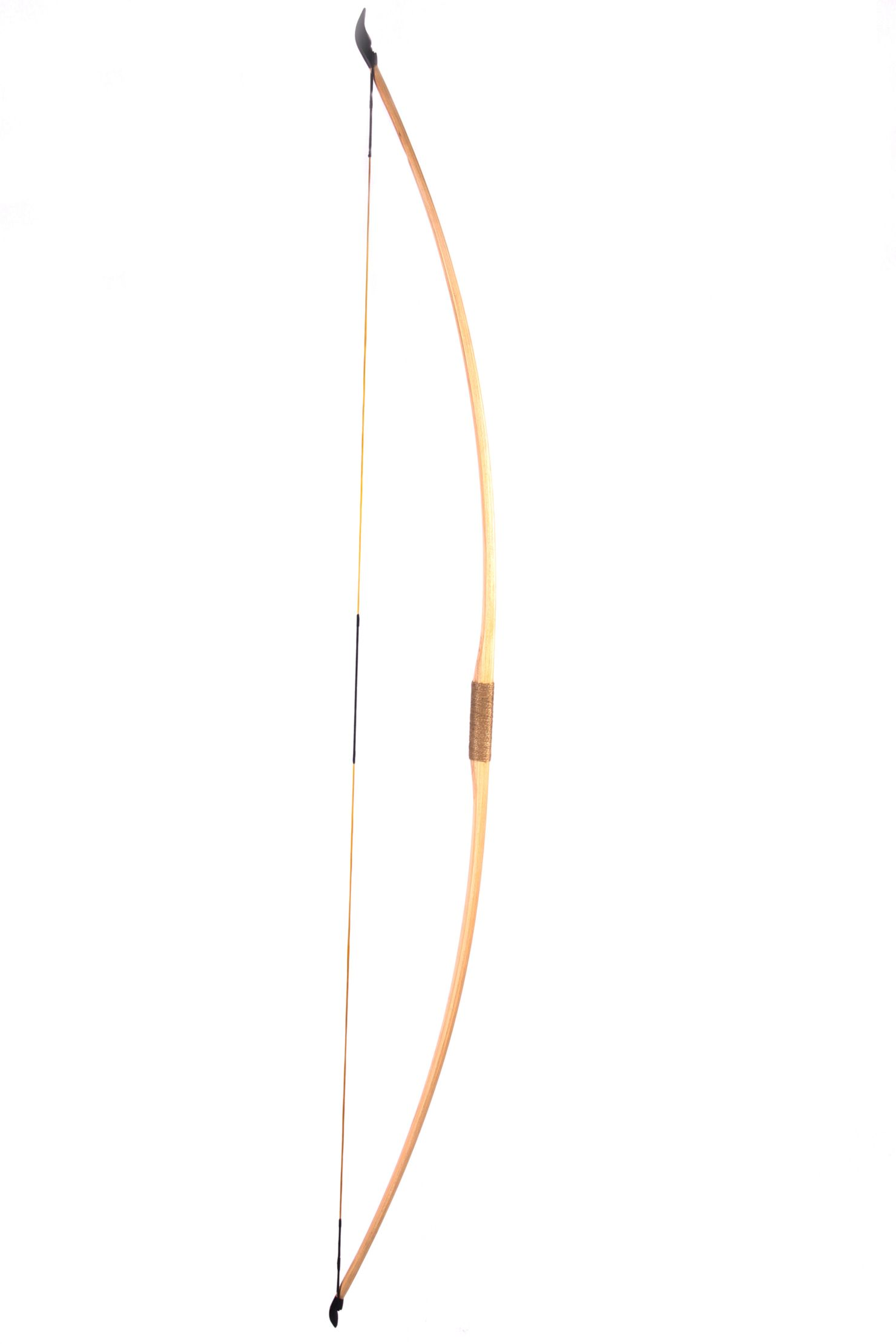 wooden bow with a taut bowstring on a white background